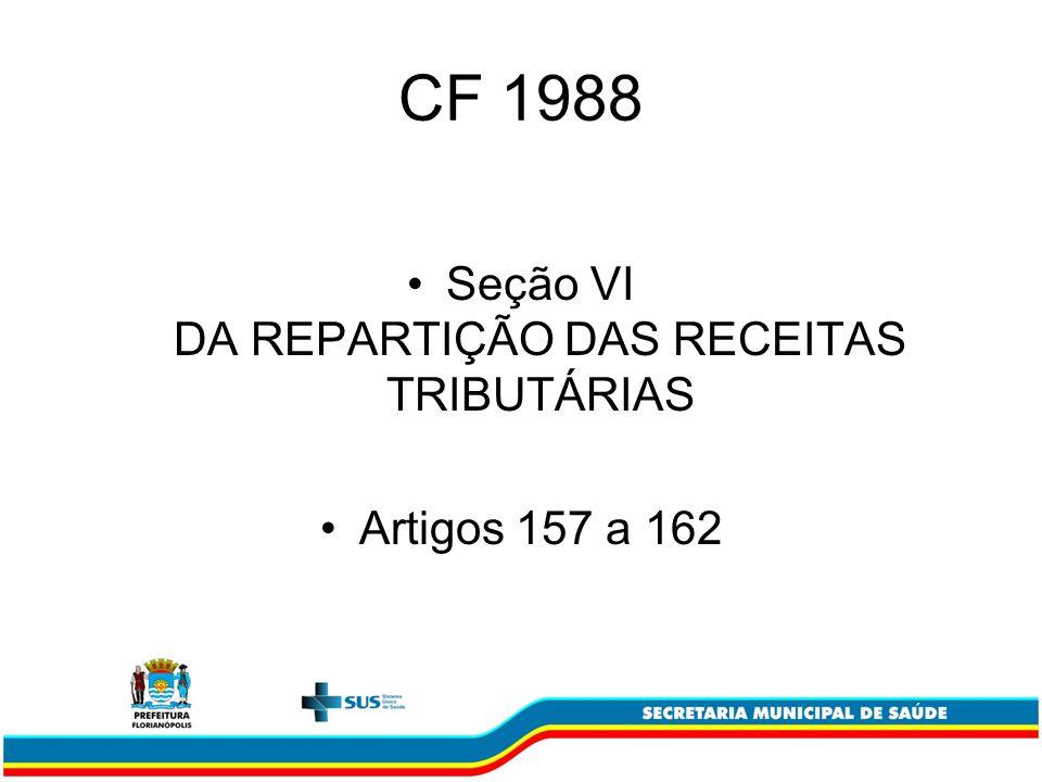 Seção VI DA REPARTIÇÃO DAS RECEITAS TRIBUTÁRIAS