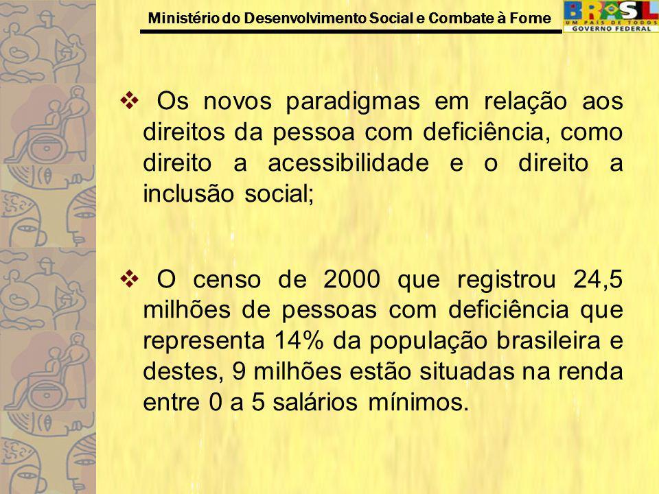 Os novos paradigmas em relação aos direitos da pessoa com deficiência, como direito a acessibilidade e o direito a inclusão social;