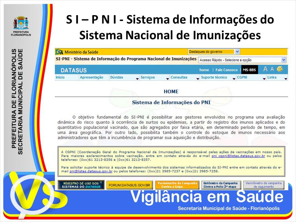 S I – P N I - Sistema de Informações do Sistema Nacional de Imunizações