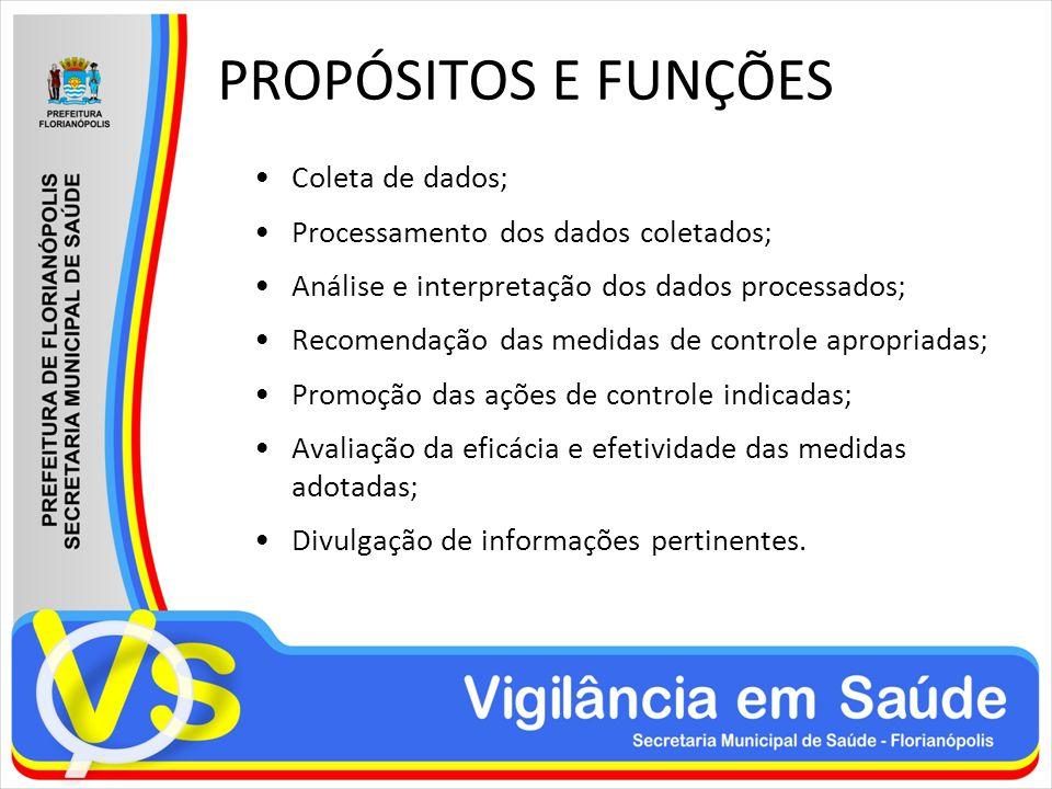 PROPÓSITOS E FUNÇÕES Coleta de dados;