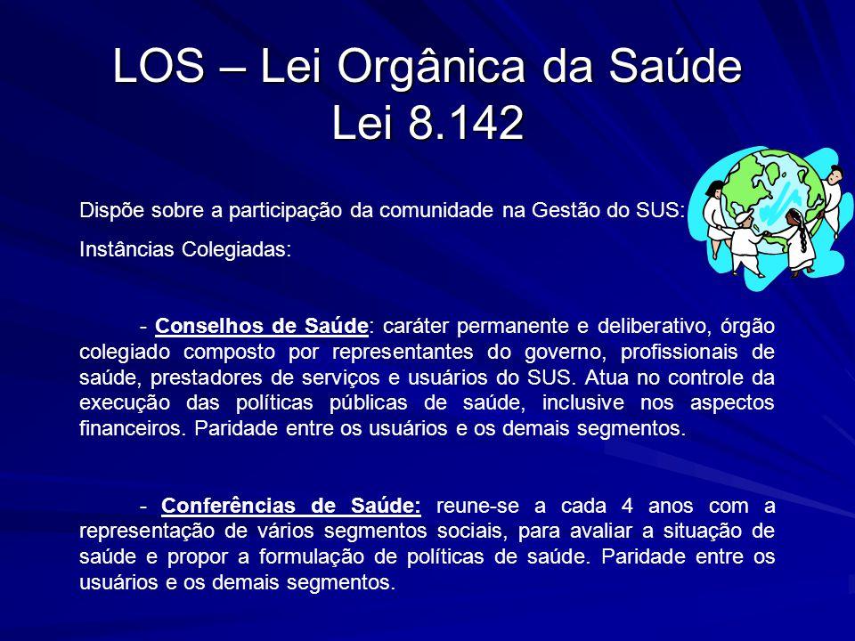 LOS – Lei Orgânica da Saúde Lei 8.142