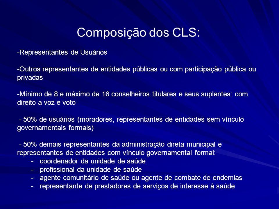 Composição dos CLS: Representantes de Usuários