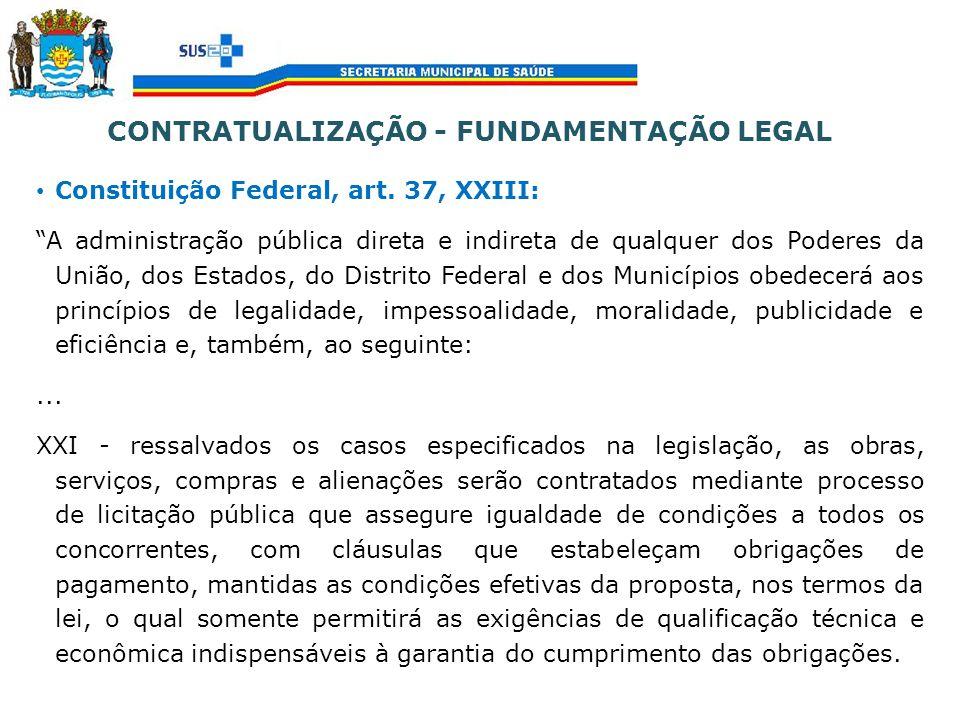 CONTRATUALIZAÇÃO - FUNDAMENTAÇÃO LEGAL