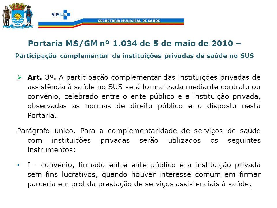 Portaria MS/GM nº 1.034 de 5 de maio de 2010 – Participação complementar de instituições privadas de saúde no SUS