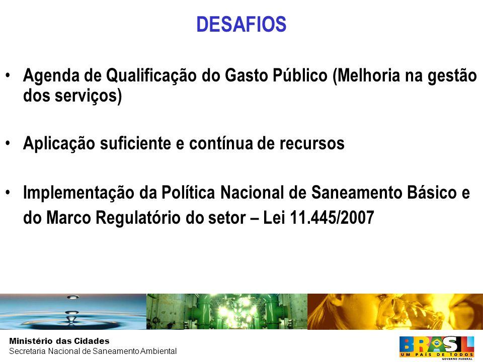 DESAFIOS Agenda de Qualificação do Gasto Público (Melhoria na gestão dos serviços) Aplicação suficiente e contínua de recursos.