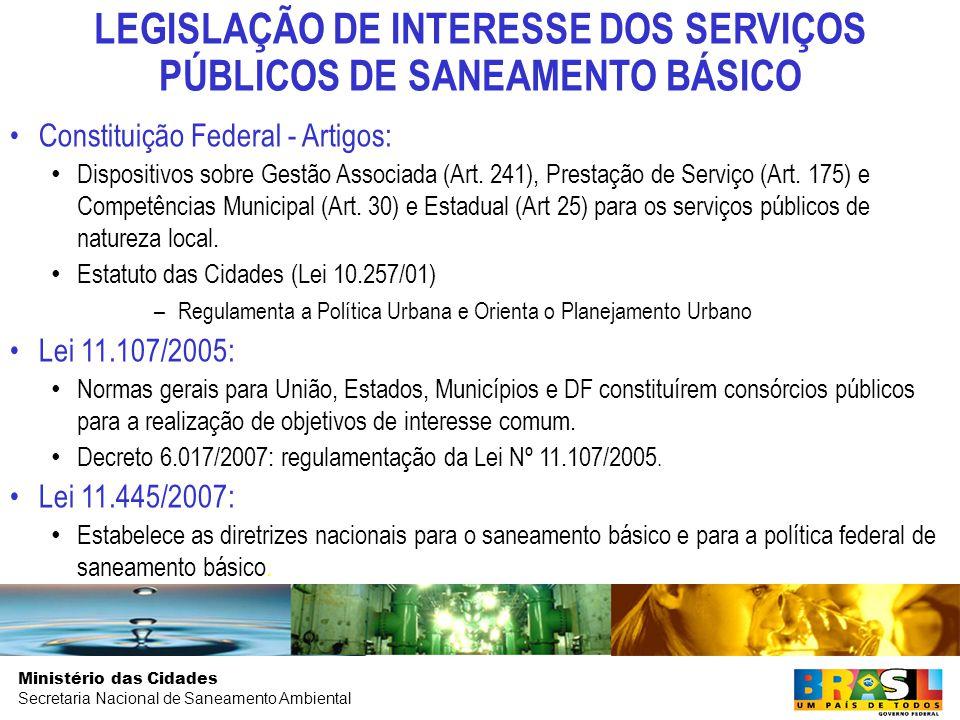 LEGISLAÇÃO DE INTERESSE DOS SERVIÇOS PÚBLICOS DE SANEAMENTO BÁSICO
