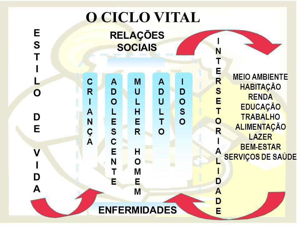 O CICLO VITAL E RELAÇÕES SOCIAIS S T I L O D V A ENFERMIDADES I N T E