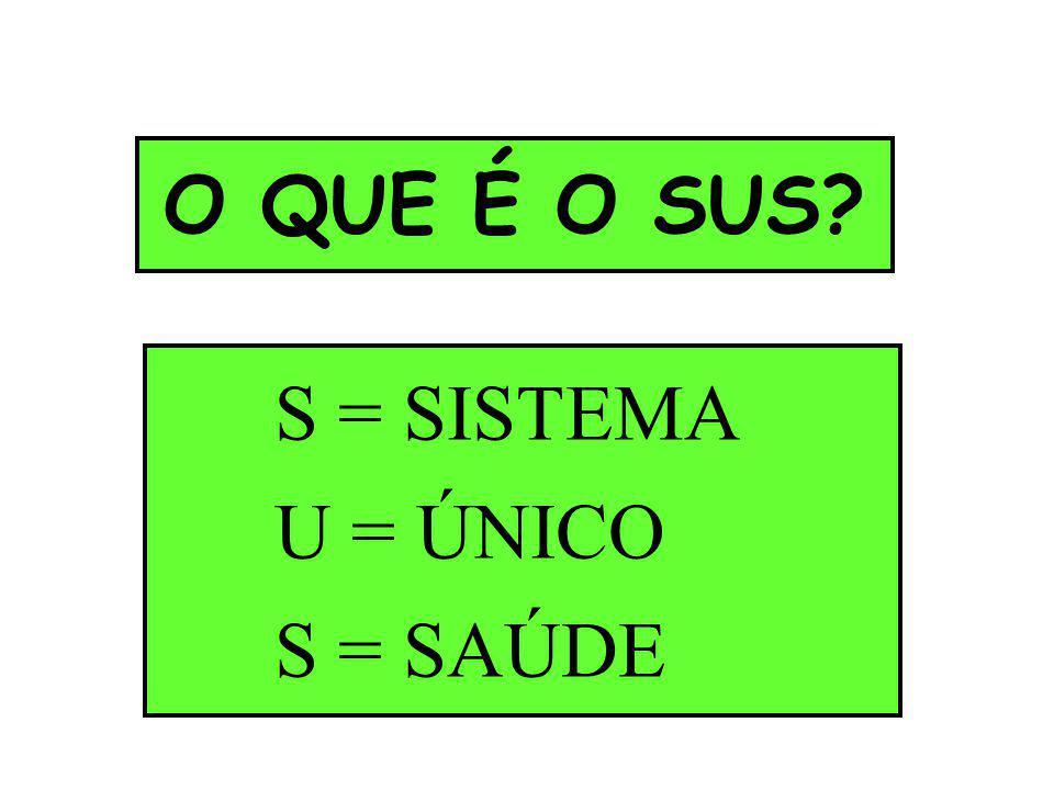 O QUE É O SUS S = SISTEMA U = ÚNICO S = SAÚDE