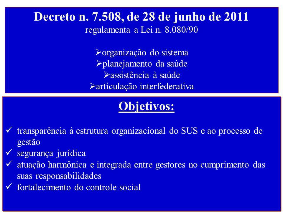 Decreto n. 7.508, de 28 de junho de 2011 regulamenta a Lei n. 8.080/90
