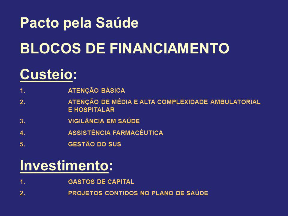 BLOCOS DE FINANCIAMENTO Custeio: