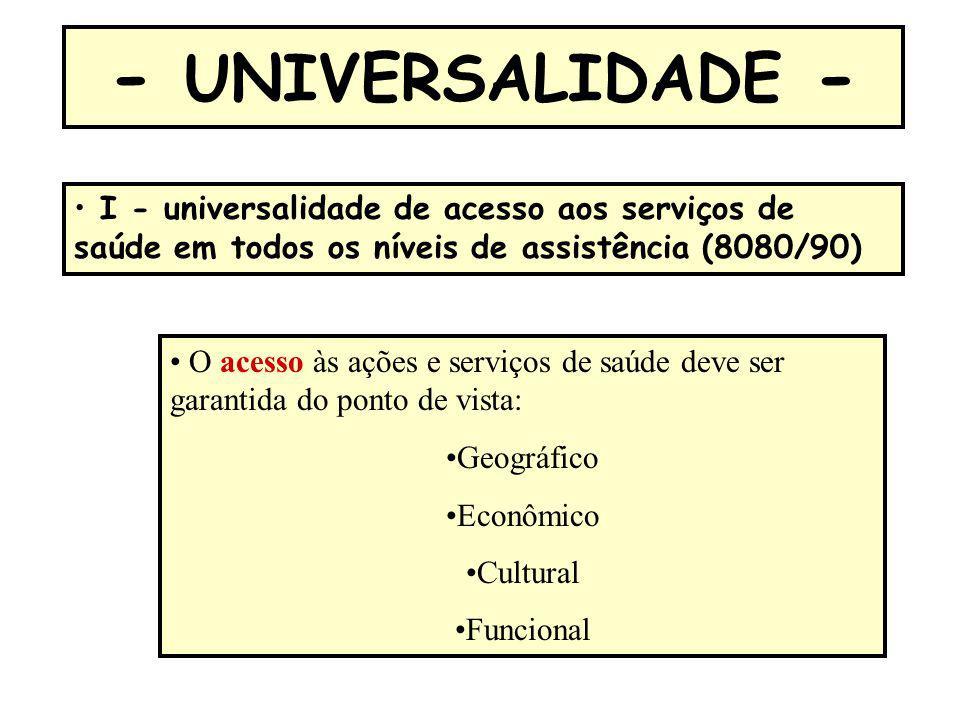 - UNIVERSALIDADE - I - universalidade de acesso aos serviços de saúde em todos os níveis de assistência (8080/90)
