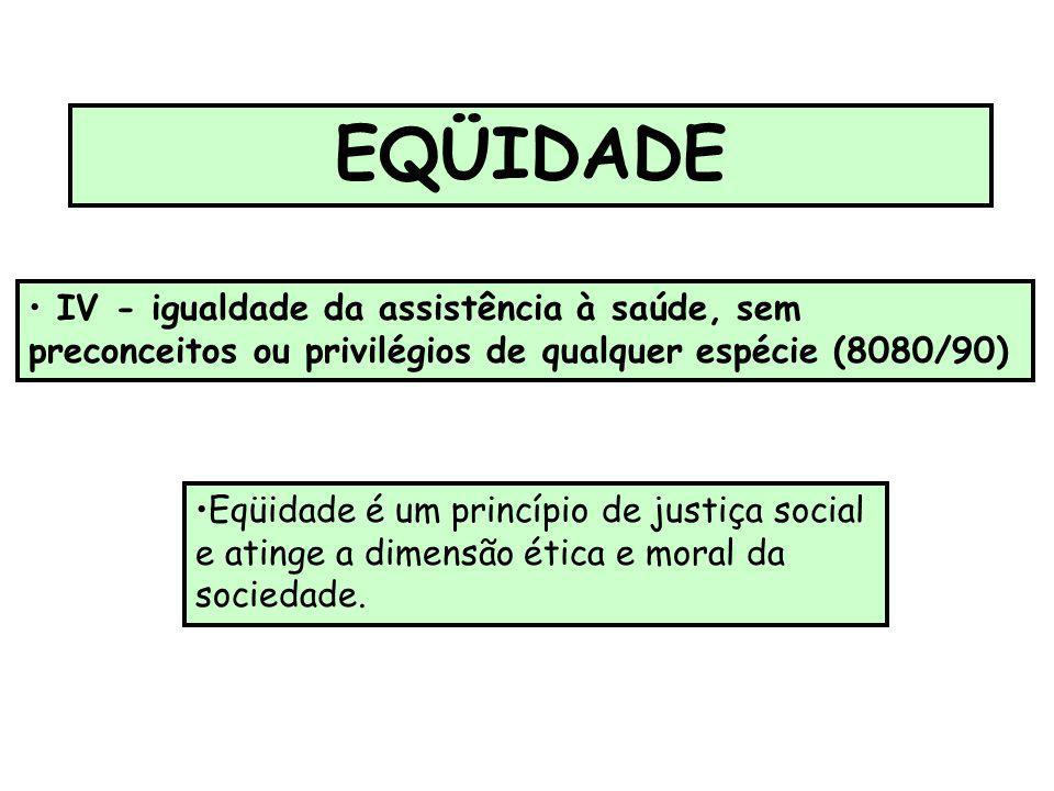 EQÜIDADE IV - igualdade da assistência à saúde, sem preconceitos ou privilégios de qualquer espécie (8080/90)