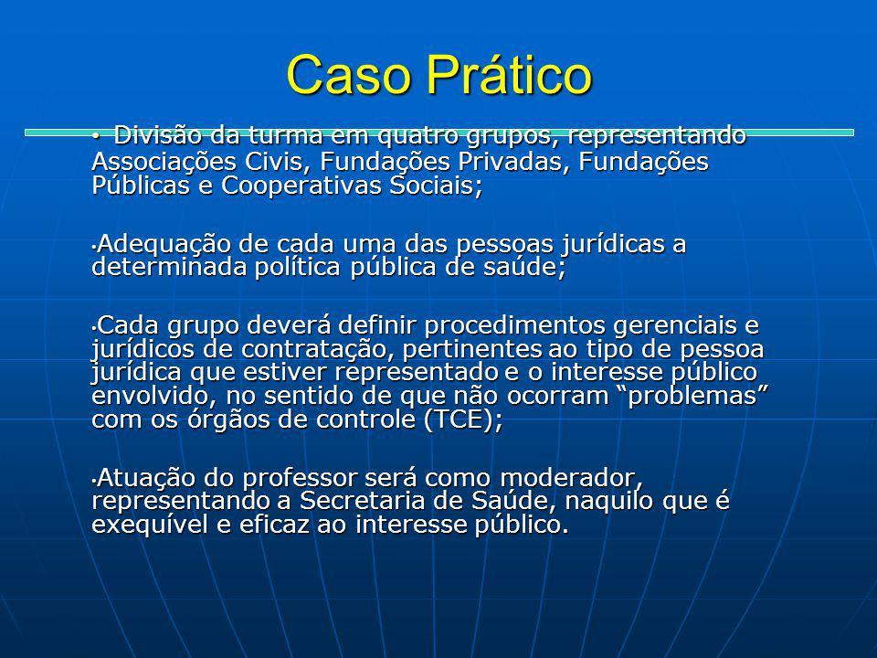 Caso Prático Divisão da turma em quatro grupos, representando Associações Civis, Fundações Privadas, Fundações Públicas e Cooperativas Sociais;