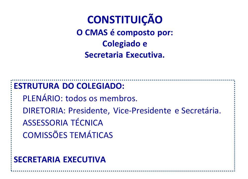 CONSTITUIÇÃO O CMAS é composto por: Colegiado e Secretaria Executiva.
