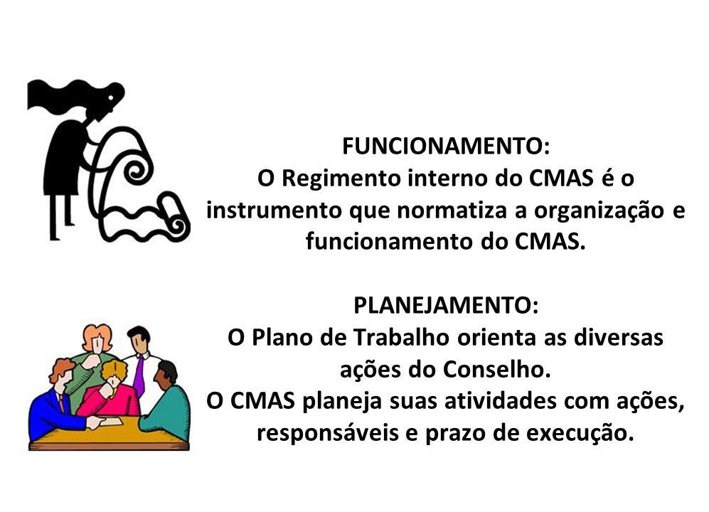 FUNCIONAMENTO: O Regimento interno do CMAS é o instrumento que normatiza a organização e funcionamento do CMAS.