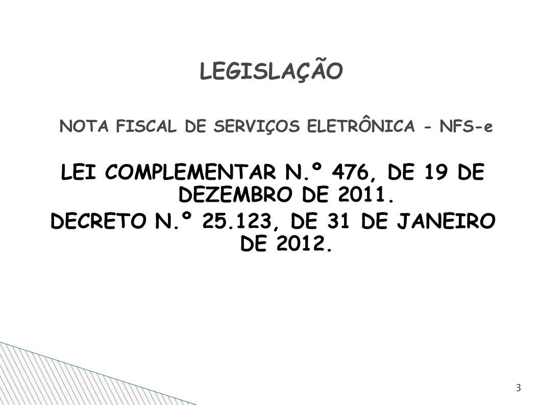 LEGISLAÇÃO NOTA FISCAL DE SERVIÇOS ELETRÔNICA - NFS-e