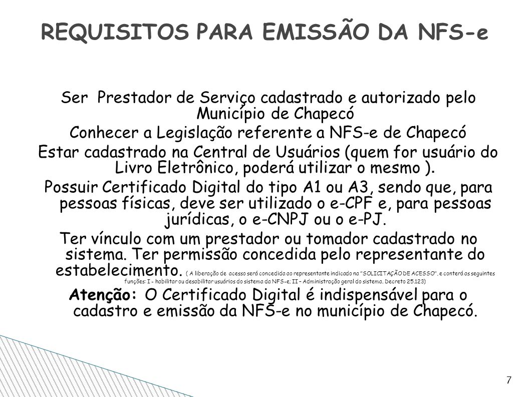 REQUISITOS PARA EMISSÃO DA NFS-e