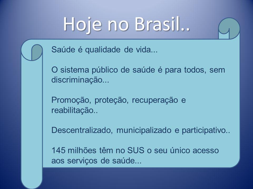 Hoje no Brasil.. Saúde é qualidade de vida...