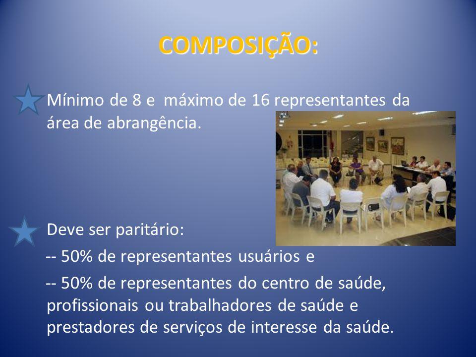 COMPOSIÇÃO: Mínimo de 8 e máximo de 16 representantes da área de abrangência. Deve ser paritário: