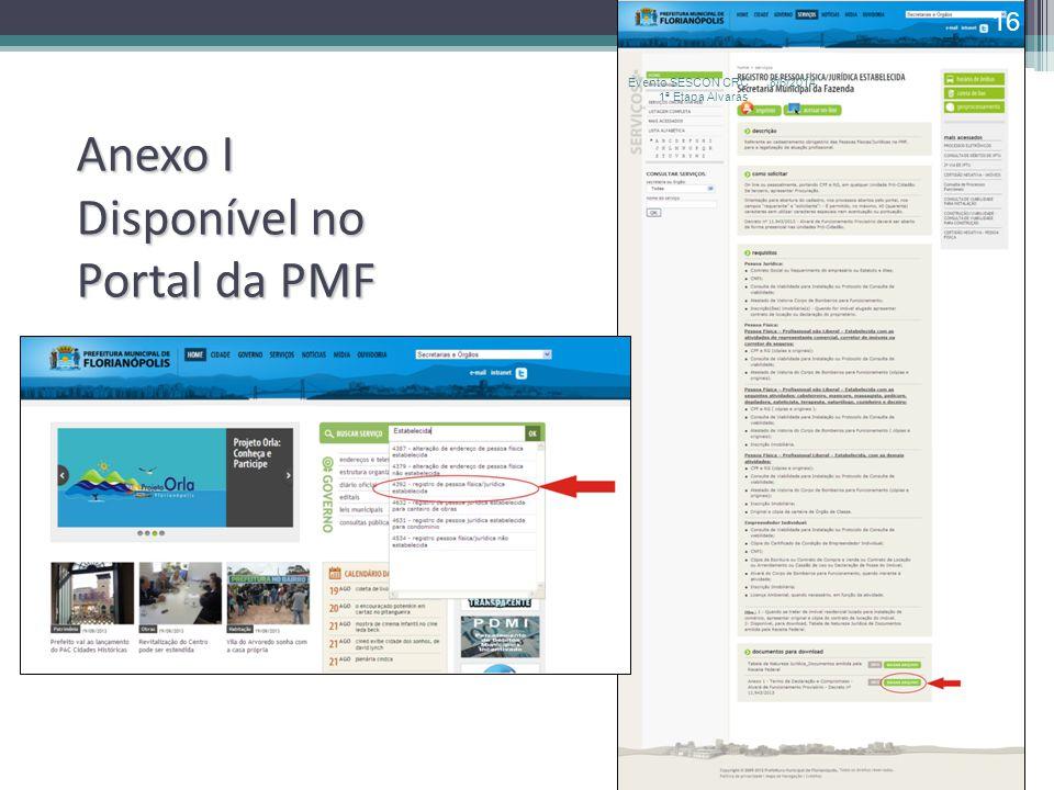 Anexo I Disponível no Portal da PMF