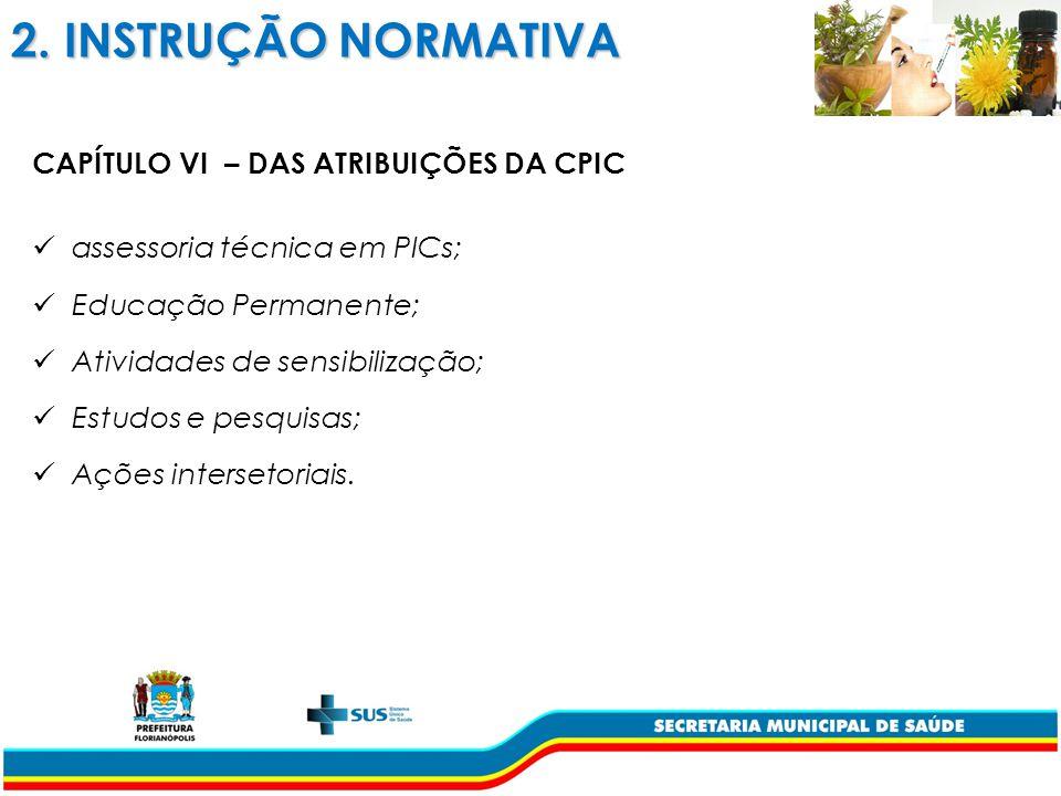 2. INSTRUÇÃO NORMATIVA CAPÍTULO VI – DAS ATRIBUIÇÕES DA CPIC