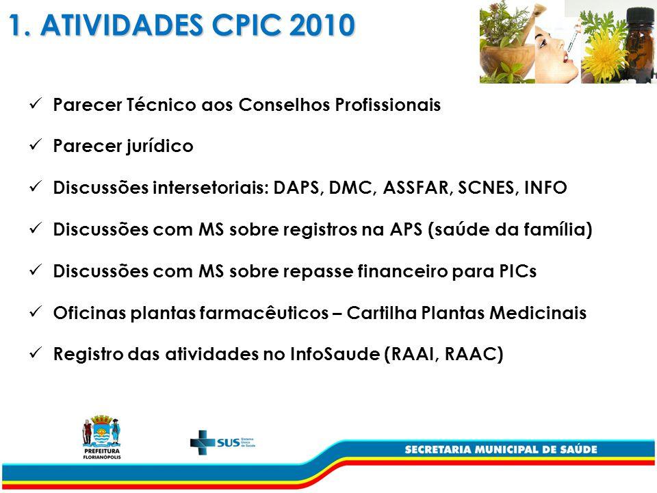 1. ATIVIDADES CPIC 2010 Parecer Técnico aos Conselhos Profissionais
