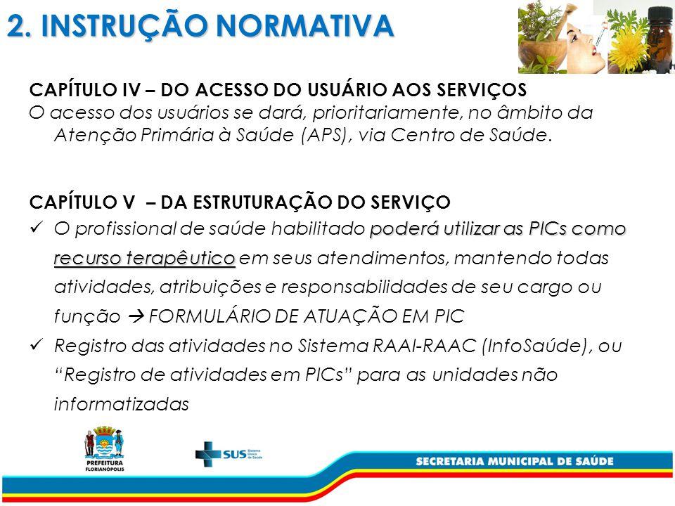 2. INSTRUÇÃO NORMATIVA CAPÍTULO IV – DO ACESSO DO USUÁRIO AOS SERVIÇOS