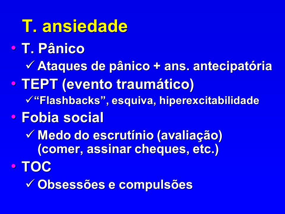T. ansiedade T. Pânico TEPT (evento traumático) Fobia social TOC