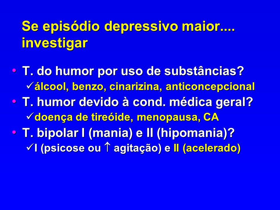 Se episódio depressivo maior.... investigar