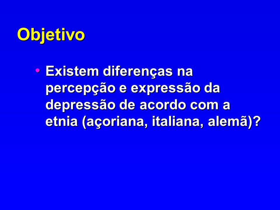 Objetivo Existem diferenças na percepção e expressão da depressão de acordo com a etnia (açoriana, italiana, alemã)