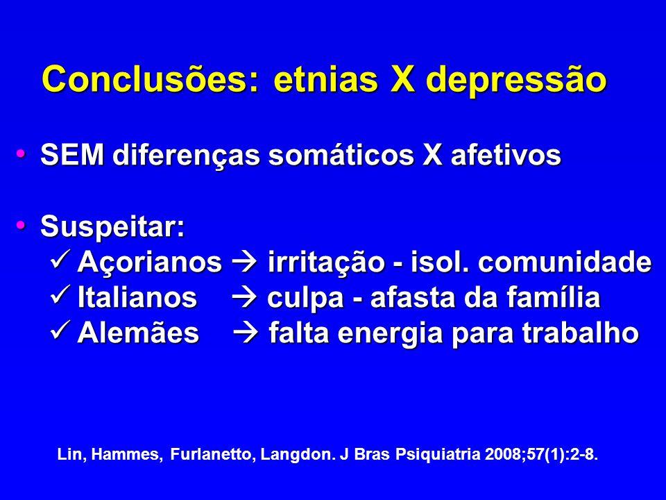 Conclusões: etnias X depressão