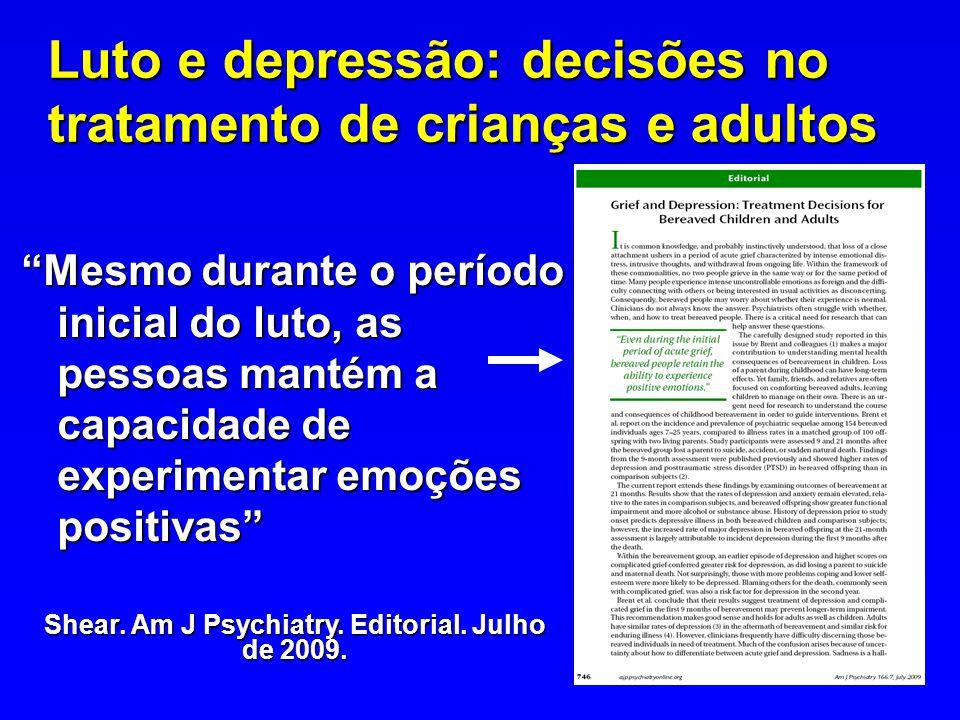 Luto e depressão: decisões no tratamento de crianças e adultos