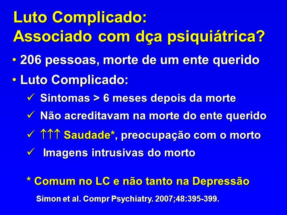 Luto Complicado: Associado com dça psiquiátrica