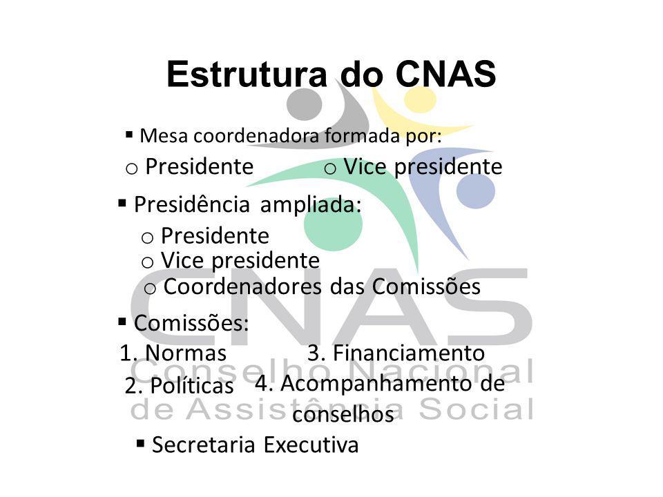 Estrutura do CNAS Presidente Vice presidente Presidência ampliada: