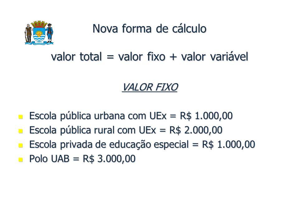 Nova forma de cálculo valor total = valor fixo + valor variável