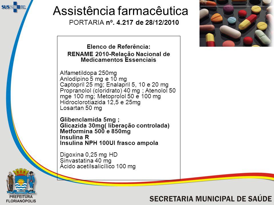 Assistência farmacêutica PORTARIA nº. 4.217 de 28/12/2010