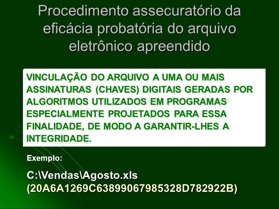 Procedimento assecuratório da eficácia probatória do arquivo eletrônico apreendido