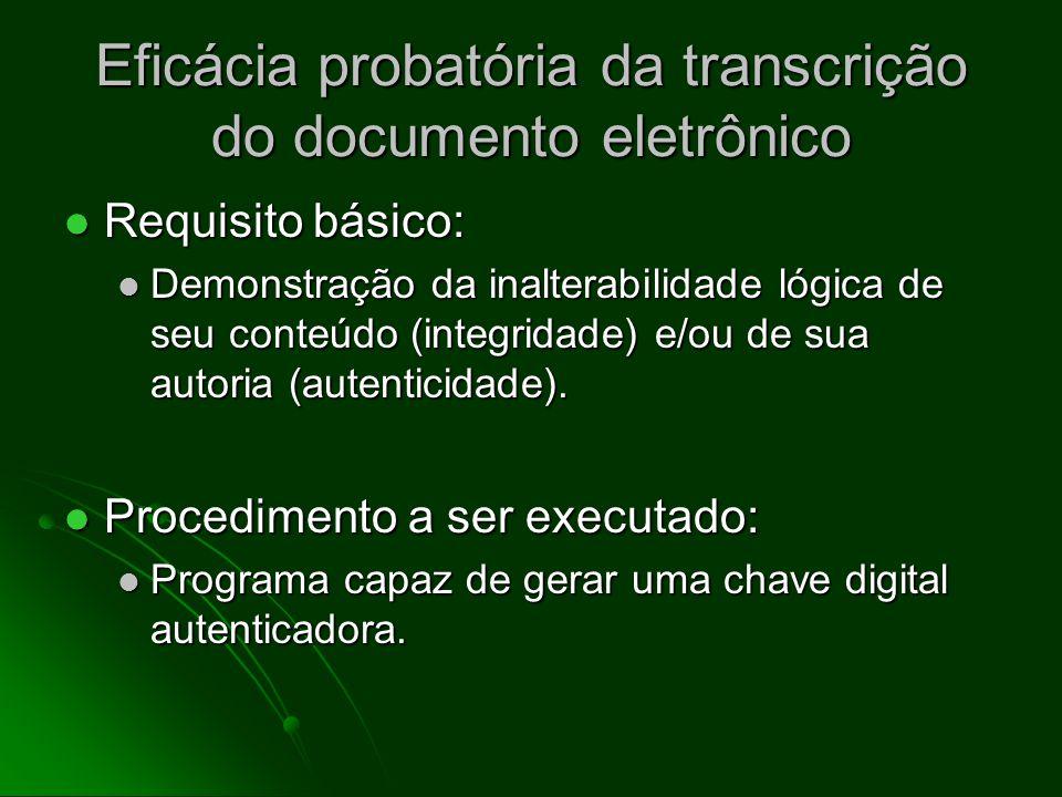 Eficácia probatória da transcrição do documento eletrônico