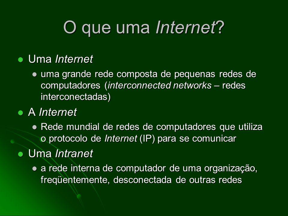 O que uma Internet Uma Internet A Internet Uma Intranet
