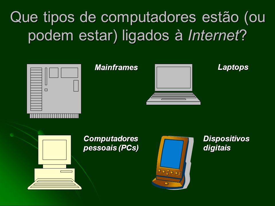 Que tipos de computadores estão (ou podem estar) ligados à Internet