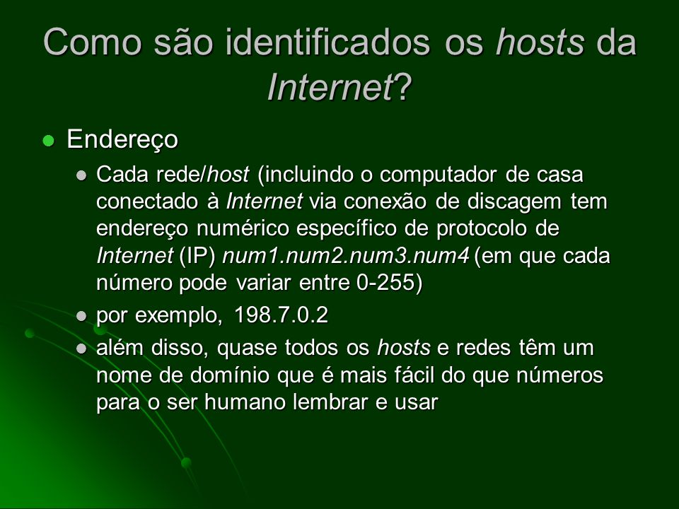 Como são identificados os hosts da Internet