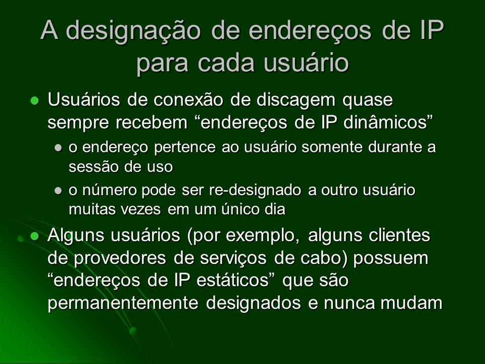 A designação de endereços de IP para cada usuário