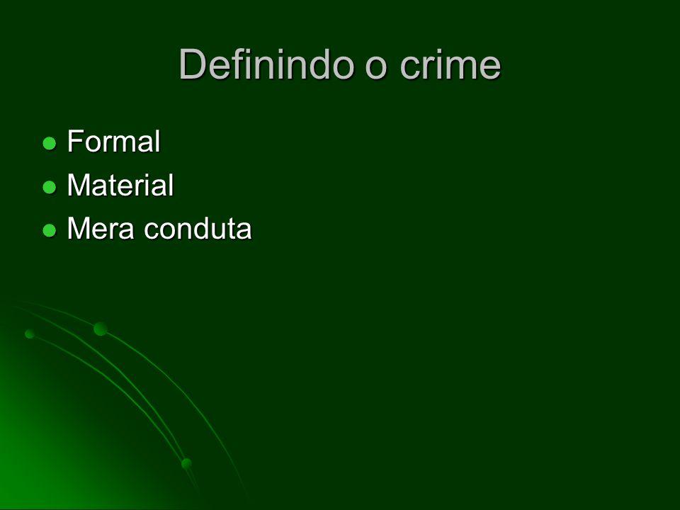 Definindo o crime Formal Material Mera conduta