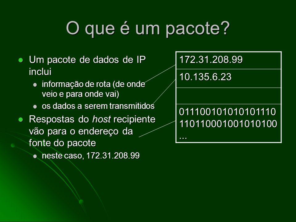 O que é um pacote Um pacote de dados de IP inclui. informação de rota (de onde veio e para onde vai)