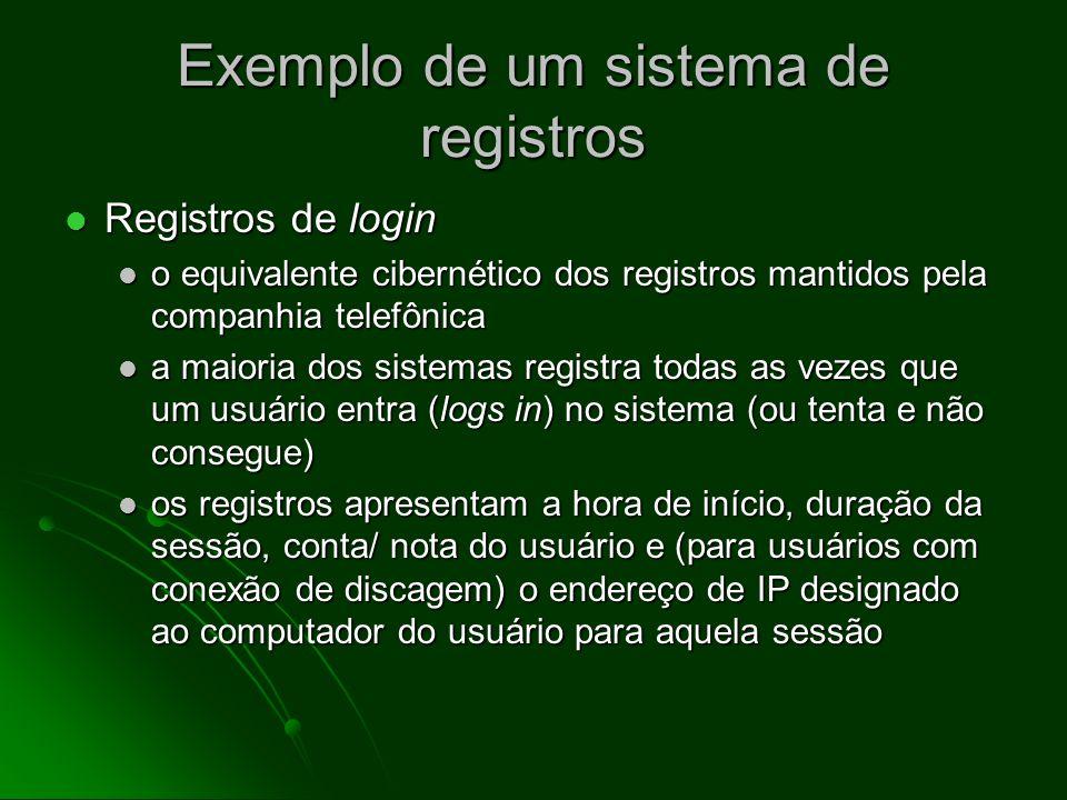 Exemplo de um sistema de registros