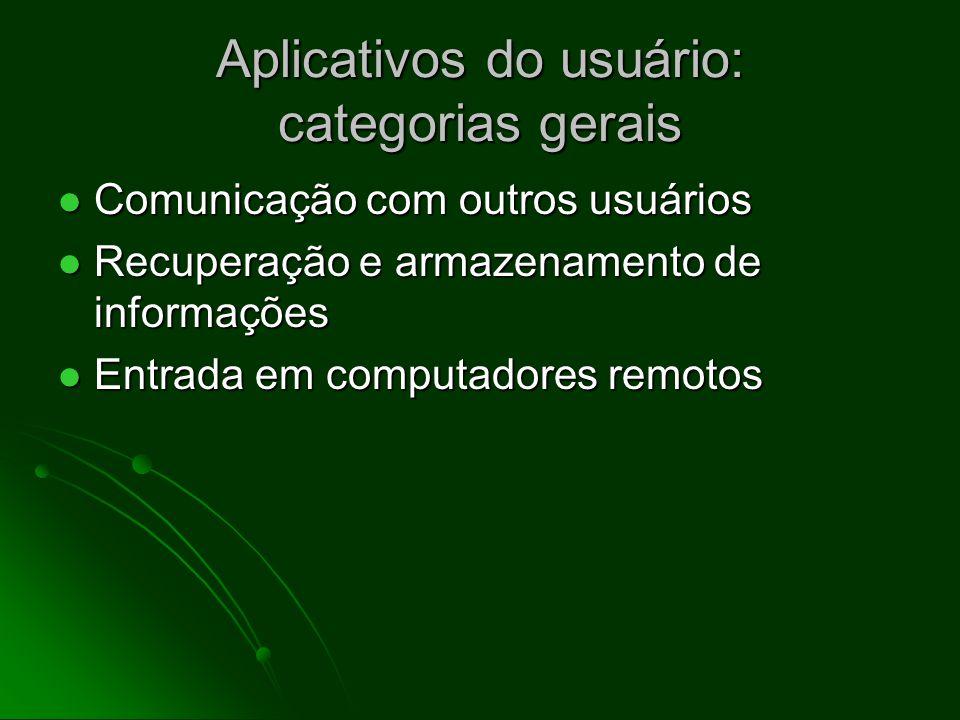 Aplicativos do usuário: categorias gerais