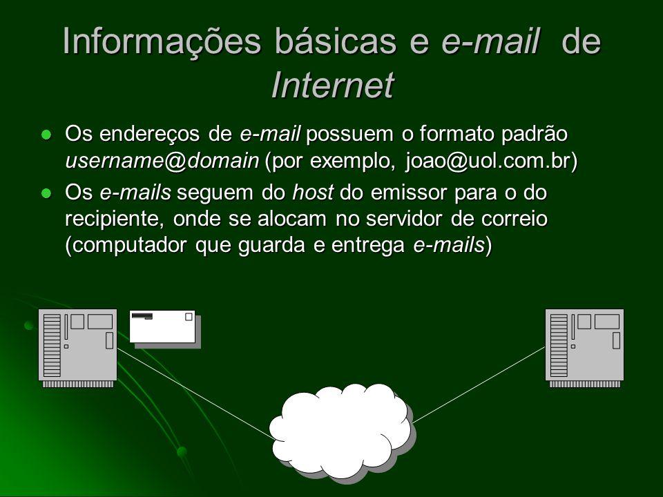 Informações básicas e e-mail de Internet