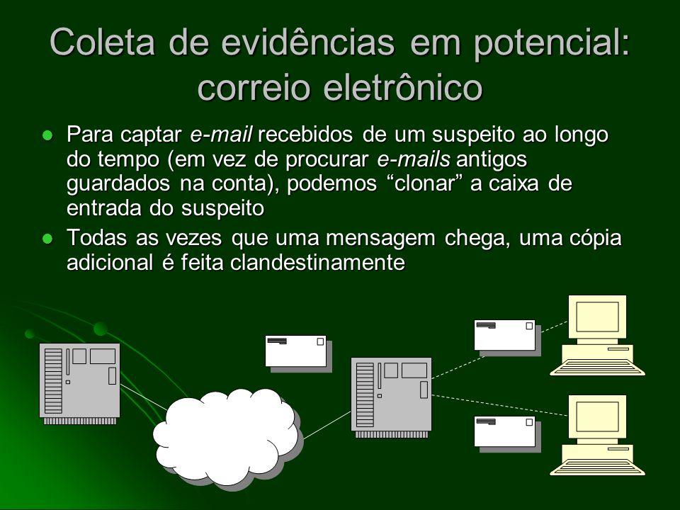 Coleta de evidências em potencial: correio eletrônico