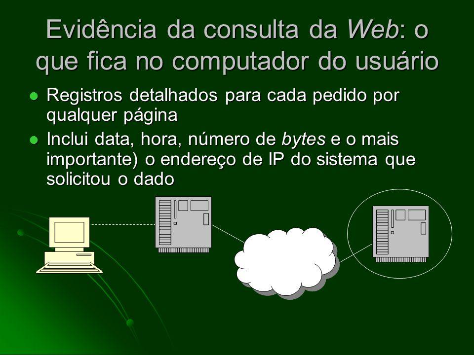 Evidência da consulta da Web: o que fica no computador do usuário