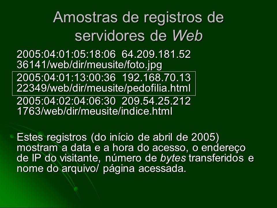 Amostras de registros de servidores de Web